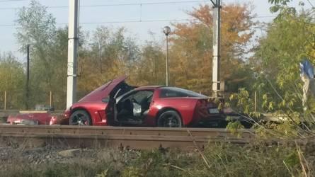 Crashed Chevy Corvette Does Its Best Train Impression