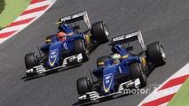 Marcus Ericsson, Sauber C35 and team mate Felipe Nasr, Sauber C35 battle for position