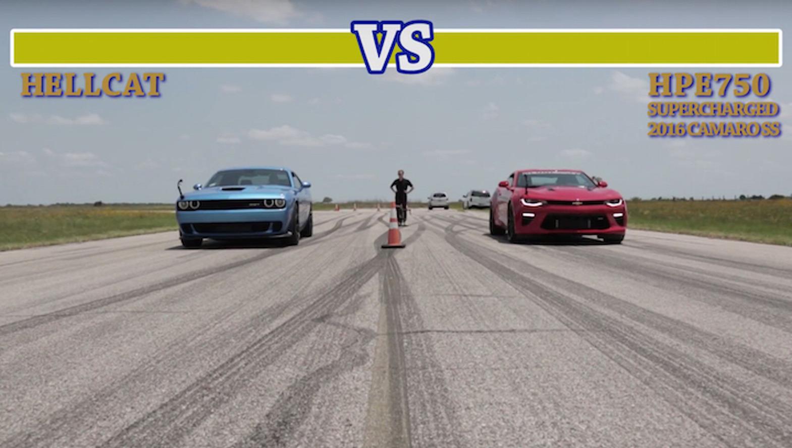 Dodge Challenger Hellcat Battles 751-HP Hennessey Camaro; Everybody Wins