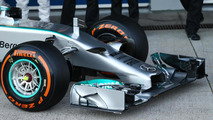 Mercedes AMG F1 W05 front wing and nosecone  Formula One Testing Jerez Spain