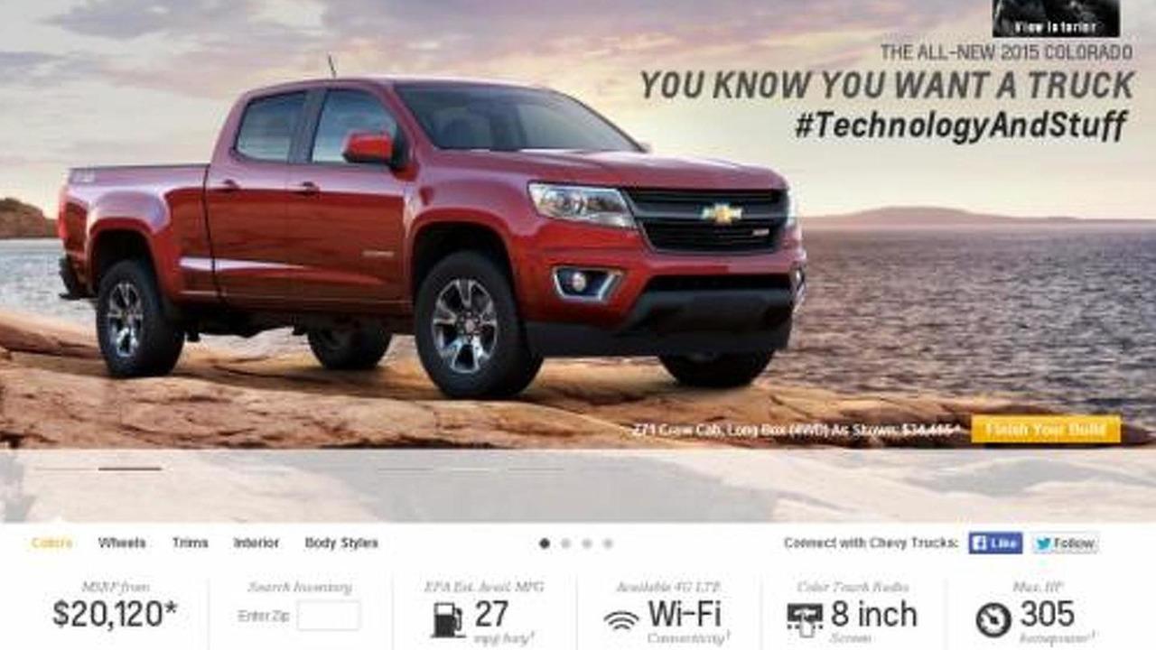 Chevrolet Colorado landing page