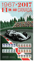 Les timbres Sir Jackie Stewart, Gilles Villeneuve, Ayrton Senna, Michael Schumacher, Lewis Hamilton