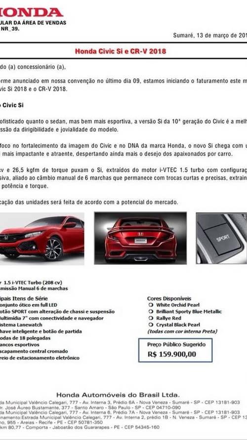Comunicado de vendas - Honda Civic Si