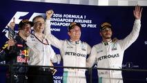 The podium (L to R)- Daniel Ricciardo, Red Bull Racing, second; Nico Rosberg, Mercedes AMG F1, race winner; Lewis Hamilton, Mercedes AMG F1, third