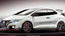 Honda Civic Type R rendered without rear doors