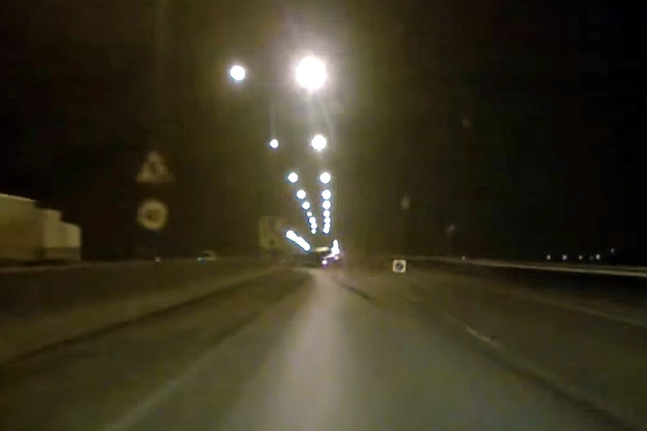 Watch a Poorly Marked Concrete Barrier Cause a Wild Accident