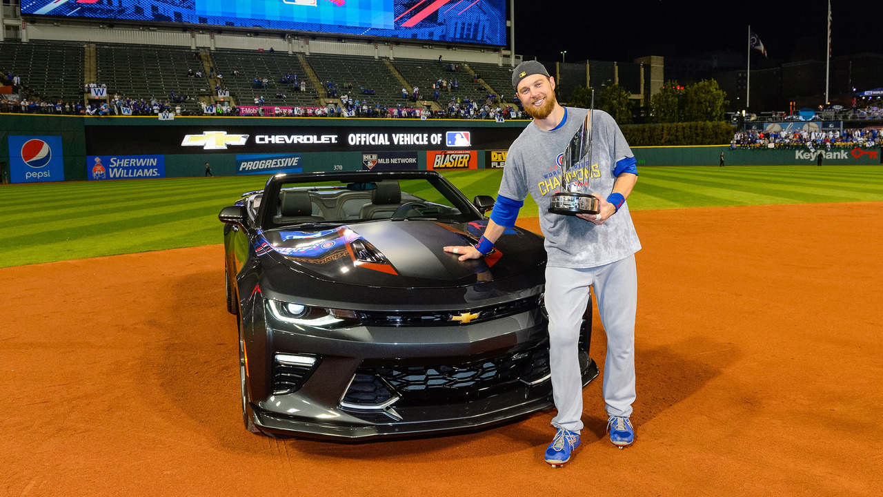 World Series MVP Ben Zobrist and Chevy Camaro 50th Anniversary Edition