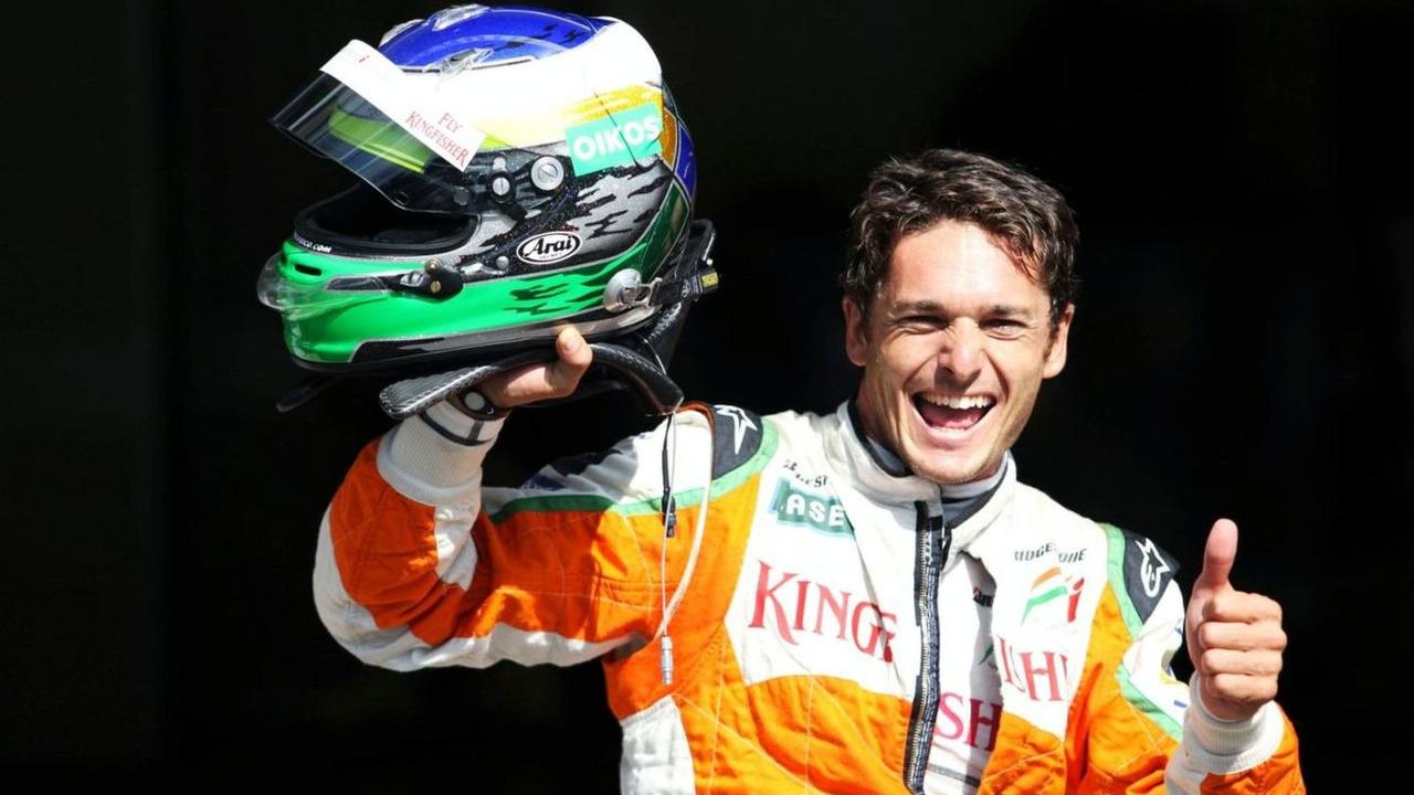 Giancarlo Fisichella (ITA) Force India F1 celebrates on the podium, Belgian Grand Prix, Spa-Francorchamps, Belgium, 30.08.2009