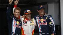 Sebastian Vettel, Fernando Alonso, Mark Webber celebrates, Hungarian GP 2009, qualifying
