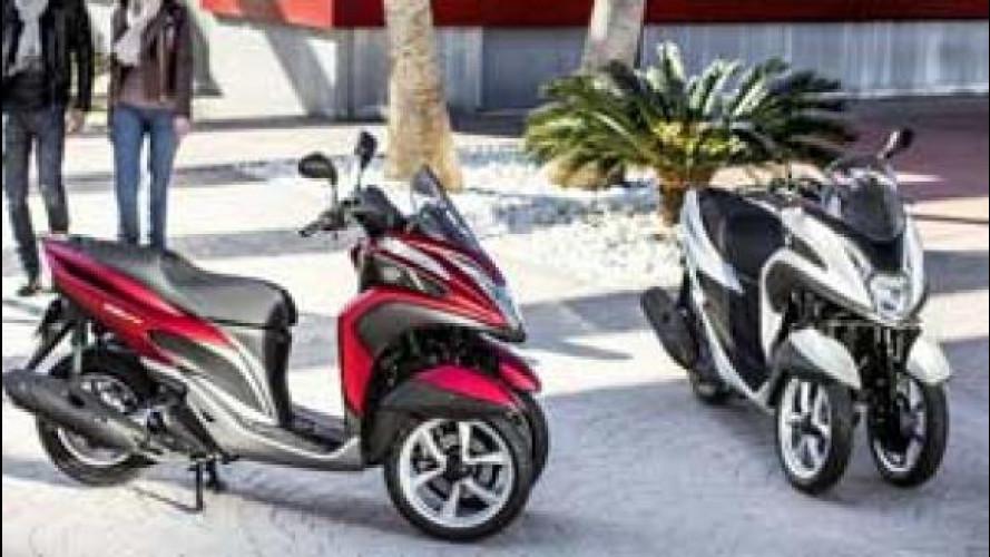 Yamaha sfida le auto con Tricity, uno scooter a tre ruote