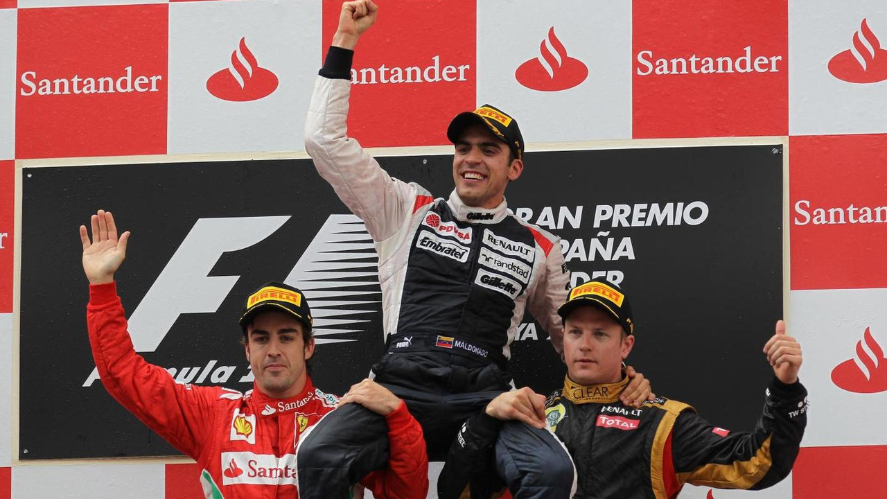 Pastor Maldonado with Fernando Alonso and Kimi Raikkonen 13.05.2012 Spanish Grand Prix