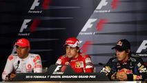 Lewis Hamilton (GBR), McLaren Mercedes, Fernando Alonso (ESP), Scuderia Ferrari,Sebastian Vettel (GER), Red Bull Racing - Formula 1 World Championship, Rd 15, Singapore Grand Prix, 25.09.2010