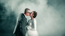 Epic burnout highlights unforgettable wedding picture